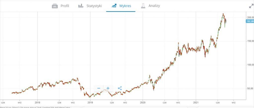 wykres NVIDIA akcji od poczatku