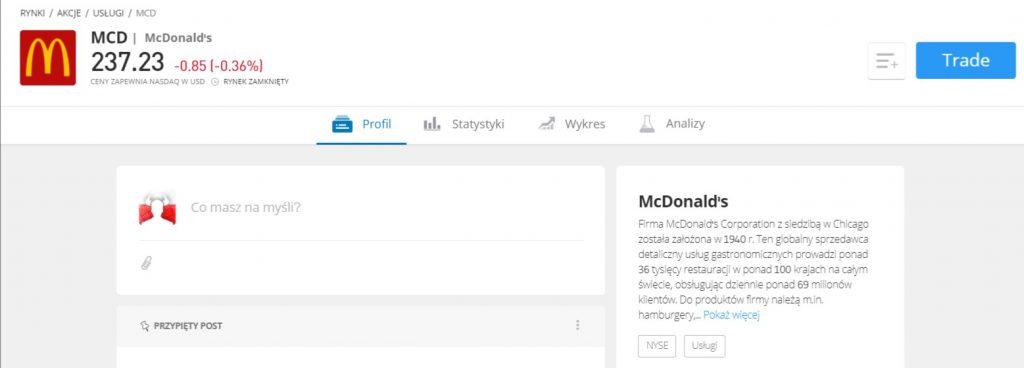 Opis profilu spółki macdonalds