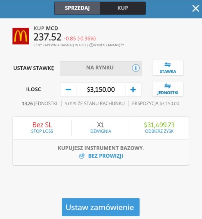 Zlecenie zakupi akcji macdonalds