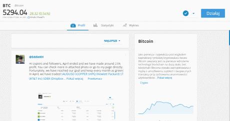sposób inwestowania w Bitcoin z eToro