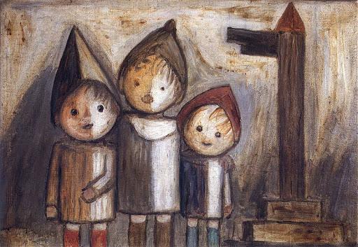 W których malarzy warto Inwestować - Troje dzieci pod drogowskazem